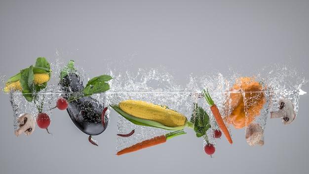 Fruits et légumes qui tombent dans l'eau et créent des éclaboussures.