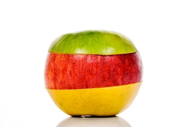 Fruits mélangés, pomme verte, jaune et rouge