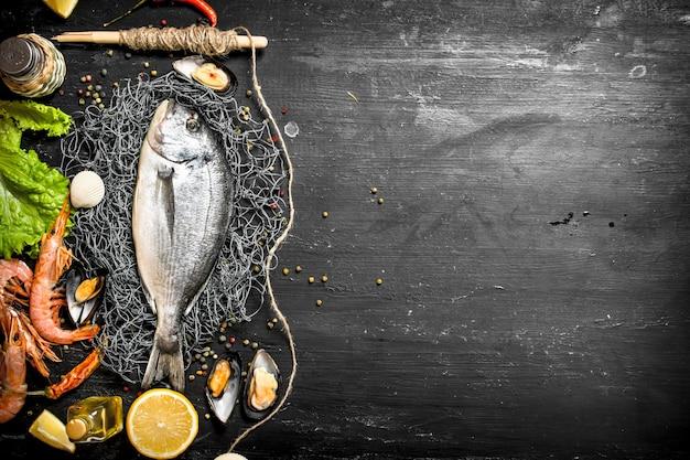 Fruits de mer frais. poisson frais aux crevettes, épices lemonnd sur tableau noir.