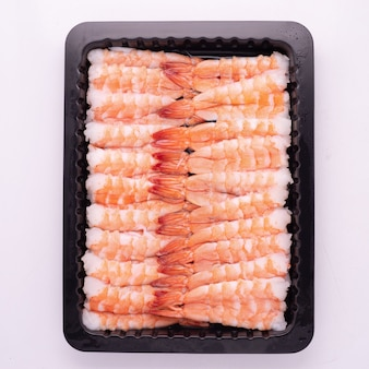 Fruits de mer surgelés et décongelés de haute qualité emballés dans un plateau avec processus iqf, surgelés individuellement pour la conception de l'industrie alimentaire et des fruits de mer.