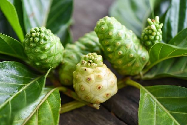 Fruits de noni frais mûrs et crus
