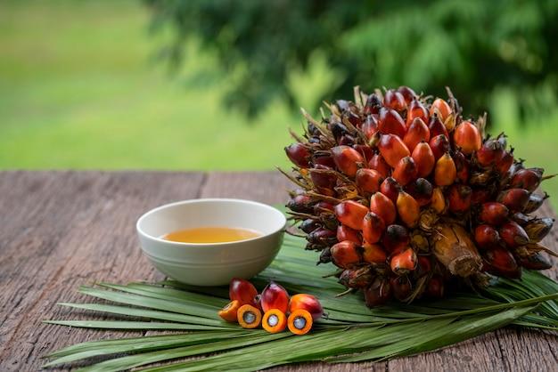 Fruits de palmier à huile frais, huile de palme de cuisson et feuilles de palmier sur un fond en bois.