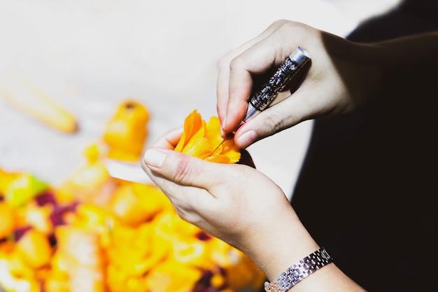 Fruits thaïlandais découpés à la main, légumes et fruits découpés