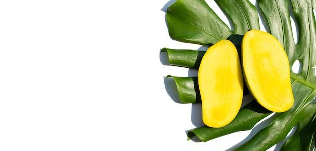 Fruits tropicaux, mangue avec feuille verte sur une surface blanche.