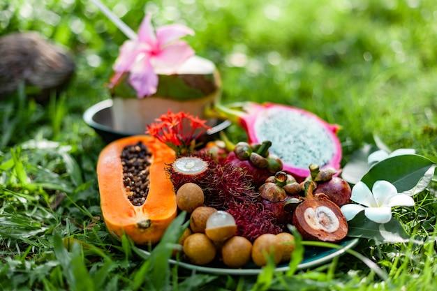 Fruits tropicaux de la région d'asie sur l'herbe