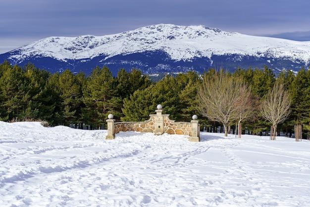 Fuente de piedra en la montaña con paisaje nevado y arboles alrededor. la morcuera.