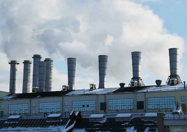 Fumée des cheminées de l'usine de chauffage fond d'atmosphère de poison hd
