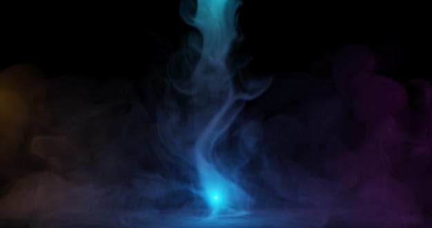 Fumée colorée sur fond sombre., rendu 3d.