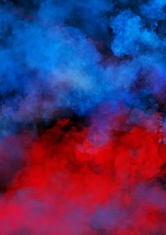 Fumée colorée sur mur noir