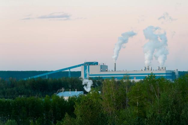 Fumée sortant des cheminées de fumée d'une usine de pâte à papier, whitecourt, nord de l'alberta, alberta, canada