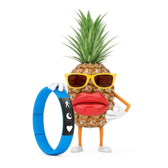 Fun cartoon fashion hipster cut ananas personne personnage mascotte avec fitness tracker bleu sur fond blanc. rendu 3d