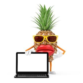 Fun cartoon fashion hipster cut ananas personne personnage mascotte avec mégaphone rétro rouge sur fond blanc. rendu 3d