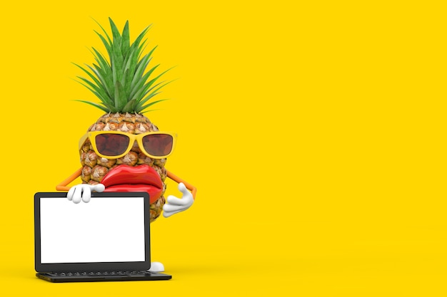 Fun cartoon fashion hipster cut ananas personne personnage mascotte avec ordinateur portable moderne ordinateur portable et écran blanc pour votre conception sur un fond jaune. rendu 3d