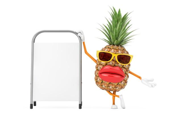 Fun cartoon fashion hipster cut ananas personne personnage mascotte avec stand de promotion de la publicité vierge blanche sur fond blanc. rendu 3d