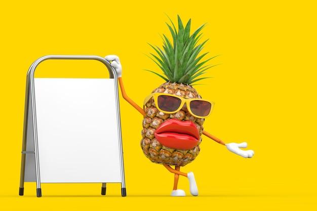 Fun cartoon fashion hipster cut ananas personne personnage mascotte avec stand de promotion de la publicité vierge blanche sur fond jaune. rendu 3d