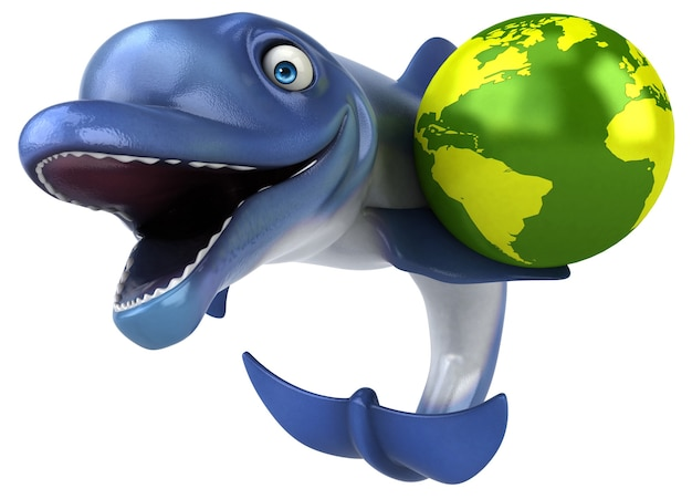 Fun dolphin - illustration 3d