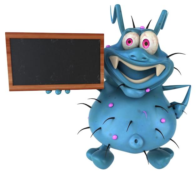 Fun monstre germe 3d tenant un tableau noir