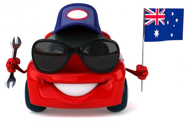 Fun voiture illustrée tenant le drapeau de l'australie