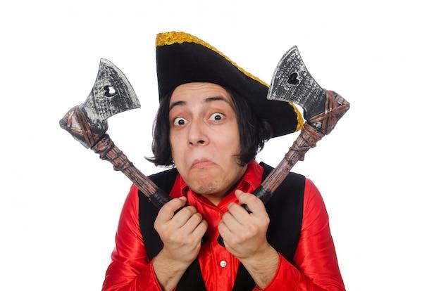 Funny pirate isolé sur le blanc