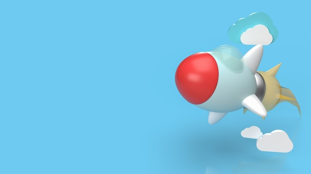La fusée bleue et le nuage pour le rendu de contenu 3d de démarrage