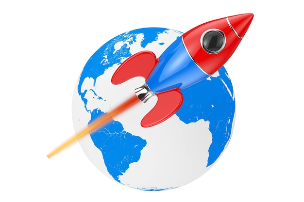 Fusée de dessin animé moderne se déplaçant autour du globe terrestre sur fond blanc. rendu 3d