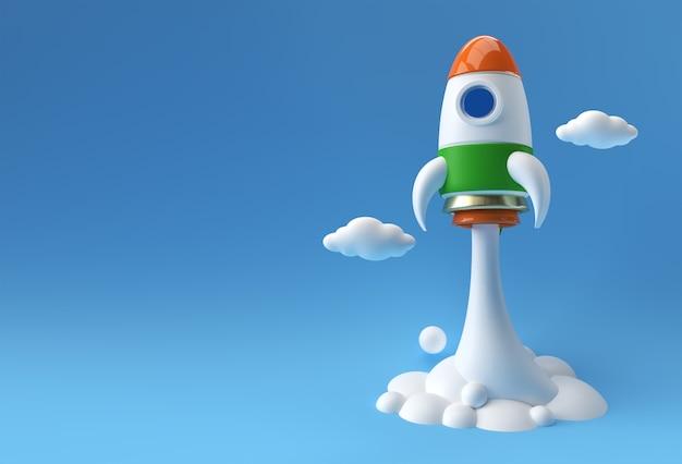 La fusée de drapeau indien de rendu 3d lance la conception d'illustration 3d de vaisseau spatial.