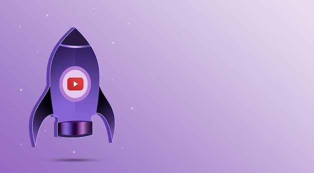 Fusée avec icône youtube dans le hublot 3d