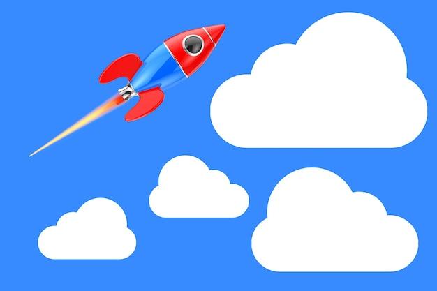 Fusée de jouet de dessin animé dans le ciel avec des nuages sur fond bleu. rendu 3d