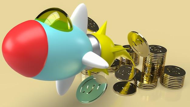 La fusée et les pièces d'or pour le rendu 3d de contenu de démarrage d'entreprise.
