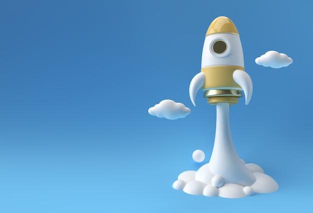 La fusée de rendu 3d lance la conception d'illustration 3d de vaisseau spatial.