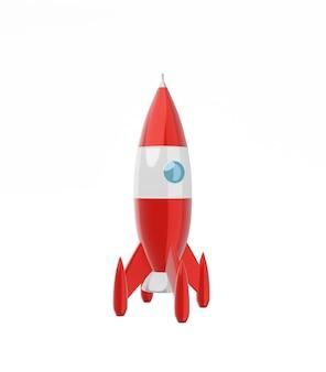 Fusée spatiale rouge
