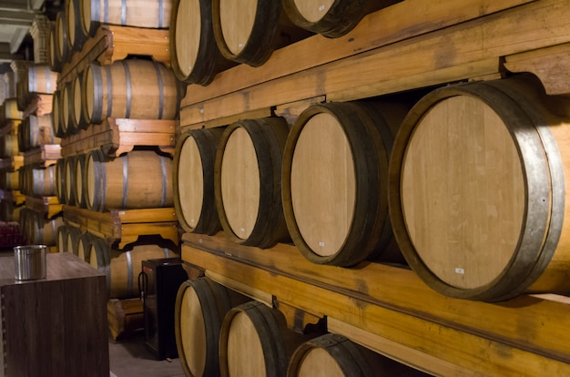 Fûts de chêne pour le vieillissement du vin dans une cave souterraine à vale dos vinhedos