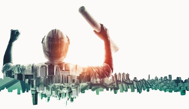 Futur concept de projet d'ingénierie de construction de bâtiments avec une conception graphique à double exposition. ingénieur du bâtiment, architecte ou ouvrier du bâtiment travaillant avec la technologie moderne des équipements civils.