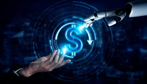 Futur robot d'intelligence artificielle et cyborg.
