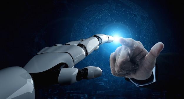 Futur robot d'intelligence artificielle et cyborg