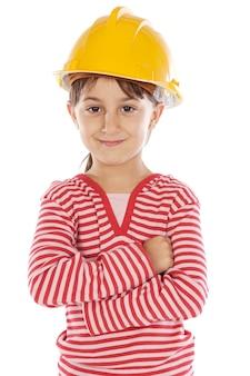Future fille ingénieur sur fond blanc