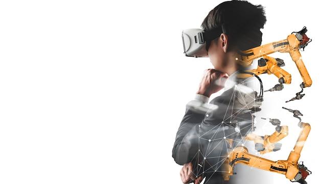 Future technologie vr pour le contrôle du bras robotisé de l'industrie mécanisée