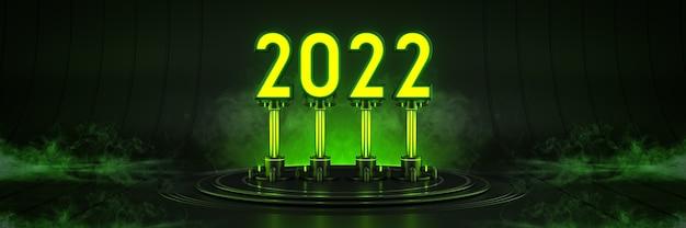 Futuriste sci fi moderne grand hall vide sombre alien garage sci fi lumière 2022 lettre signe
