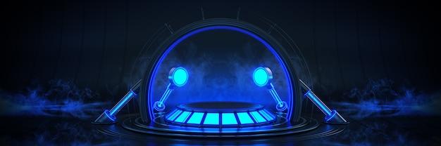 Futuriste sci fi moderne vide grand hall sombre alien garage sci fi 3drendering