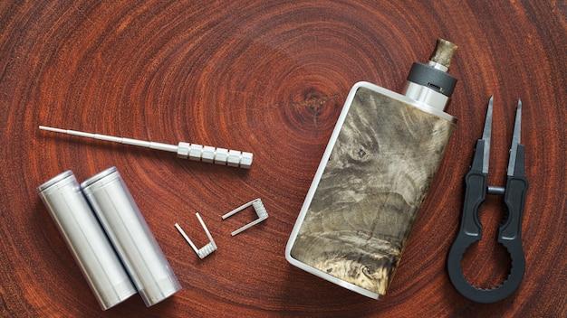 Gabarit de bobine, batterie 18650, bobine de clapton fondue, mods de boîte avec atomiseur dégouttant reconstructible, pince en céramique noire, dispositif de vapotage