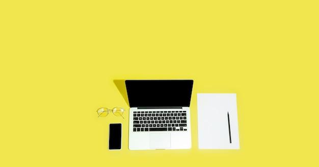 Gadgets, appareils en vue de dessus, écran vide avec fond, style minimaliste, flyer