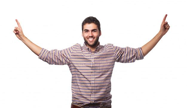 Gagnant blanc hispanique chemise saine