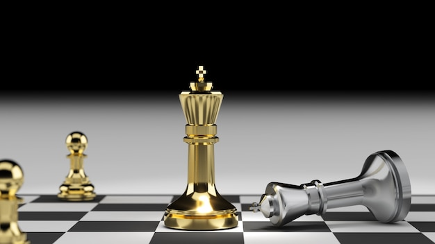 Gagnant du concours de stratégie, concept de planification de stratégie concurrentielle, rendu 3d