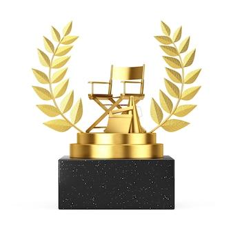 Gagnant du prix cube gold laurel wreath podium, scène ou piédestal avec chaise golden director, movie clapper et mégaphone sur fond blanc. rendu 3d