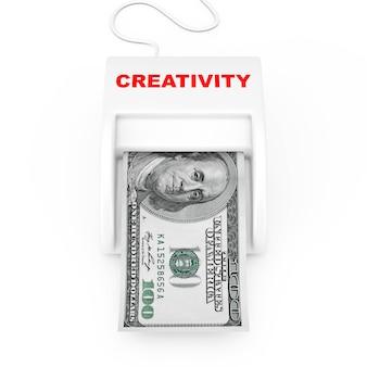 Gagnez de l'argent avec le concept de créativité. machine de créativité money maker avec des billets en dollars sur un fond blanc. rendu 3d
