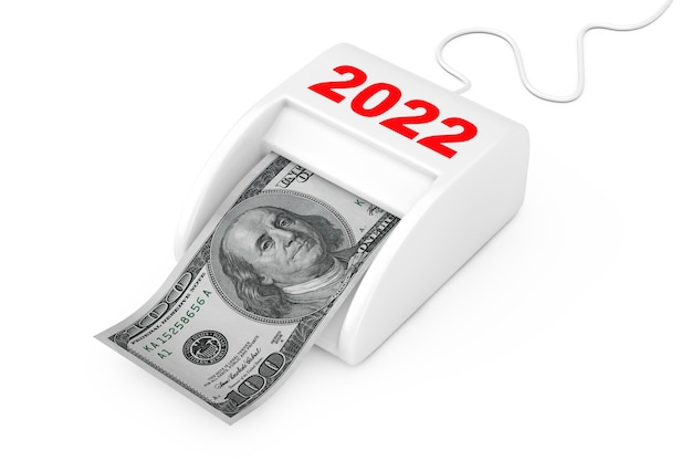 Gagnez de l'argent dans le concept du nouvel an 2022. machine de nouvel an money maker 2022 avec des billets en dollars sur un fond blanc. rendu 3d