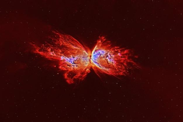 Galaxie rouge avec une forme inhabituelle. les éléments de cette image ont été fournis par la nasa. photo de haute qualité