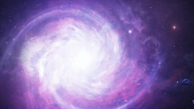 Galaxie spirale, illustration 3d d'un objet de l'espace lointain.