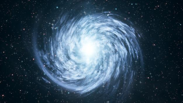 Galaxie spirale en rotation avec des étoiles dans l'espace 3d illustration