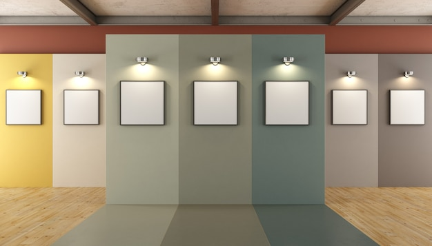 Galerie d'art contemporain avec panneaux colorés et cadre vierge